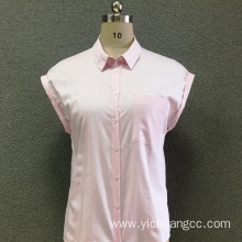 Women's cotton pink striped short sleeves shirt